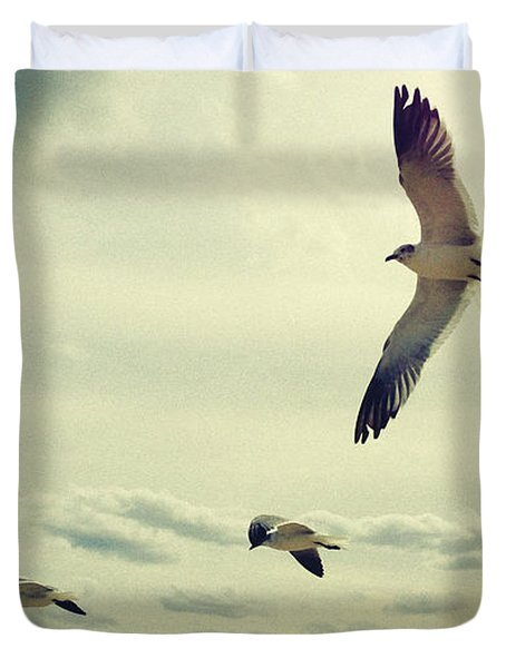 Seagulls In Flight Duvet Cover by Bradley R Youngberg