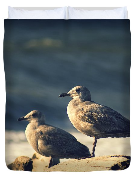 Duvet Cover featuring the photograph Seagulls On A Beach by Yulia Kazansky