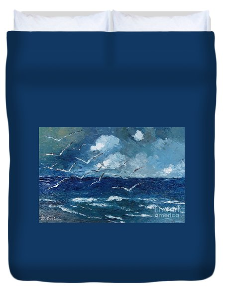 Seagulls Over Adriatic Sea Duvet Cover by AmaS Art