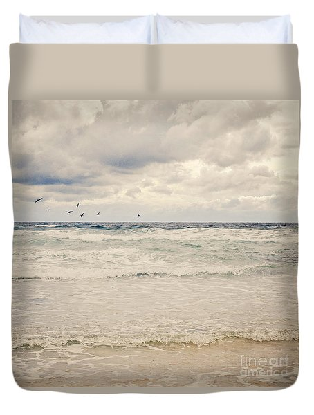 Seagulls Take Flight Over The Sea Duvet Cover by Lyn Randle