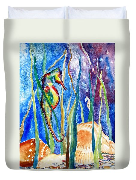 Seahorse And Shells Duvet Cover
