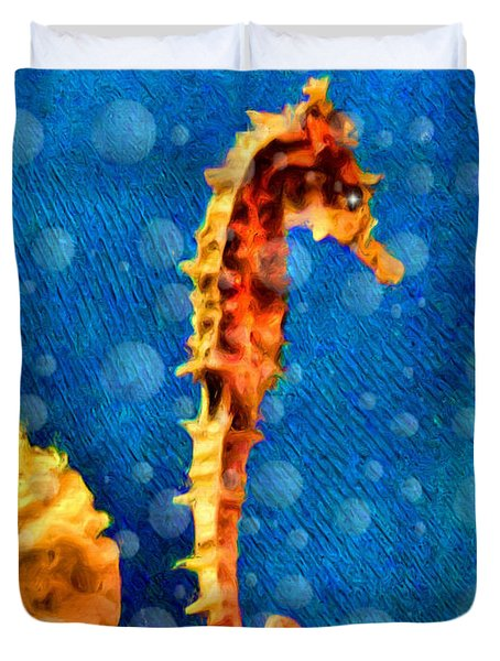 Duvet Cover featuring the digital art Seahorse by Daniel Janda