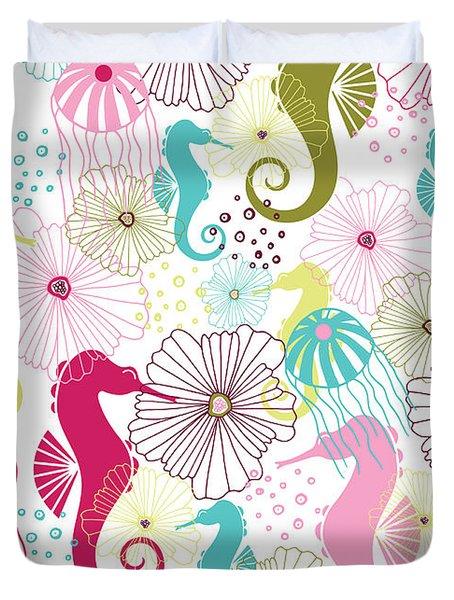 Seahorse Flora Duvet Cover