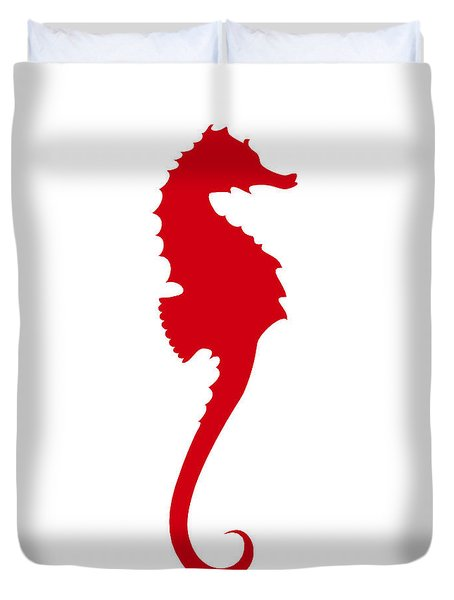 Seahorse In Red Duvet Cover