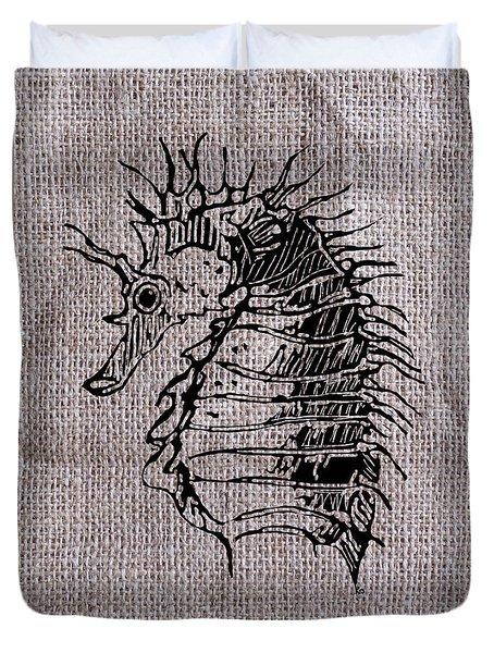 Seahorse On Burlap Duvet Cover