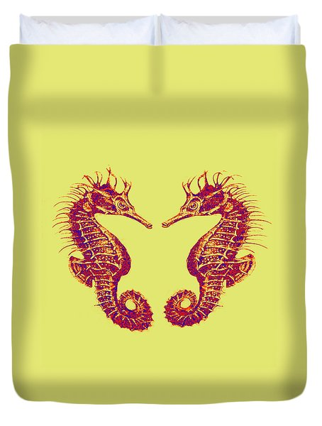 Seahorses In Love Duvet Cover by Jane Schnetlage