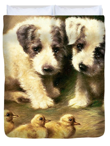 Sealyham Puppies And Ducklings Duvet Cover by Lilian Cheviot