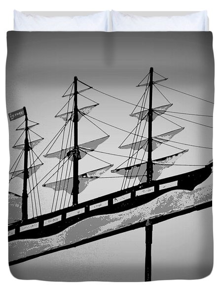 Duvet Cover featuring the photograph Seaman's Bethel Weathervane  by Kathy Barney