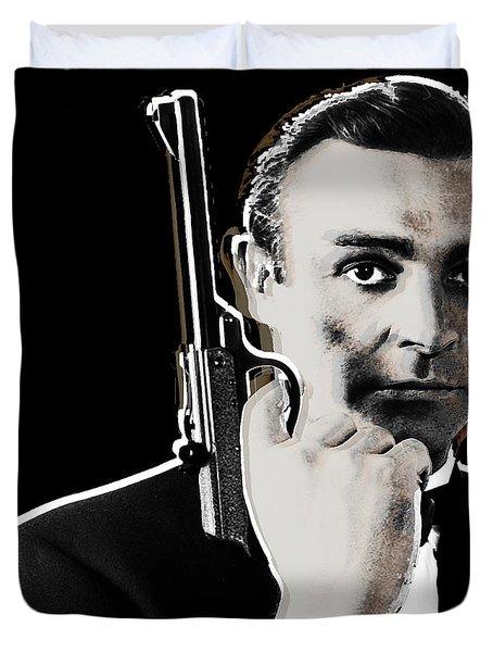 Sean Connery James Bond Square Duvet Cover by Tony Rubino