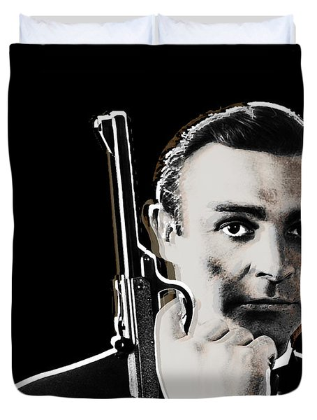 Sean Connery James Bond Vertical Duvet Cover by Tony Rubino