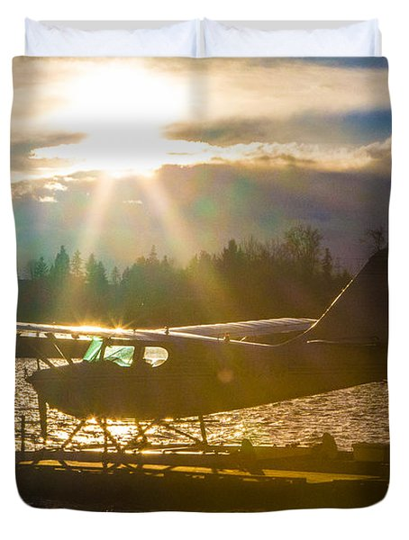 Seaplane Sunset Duvet Cover