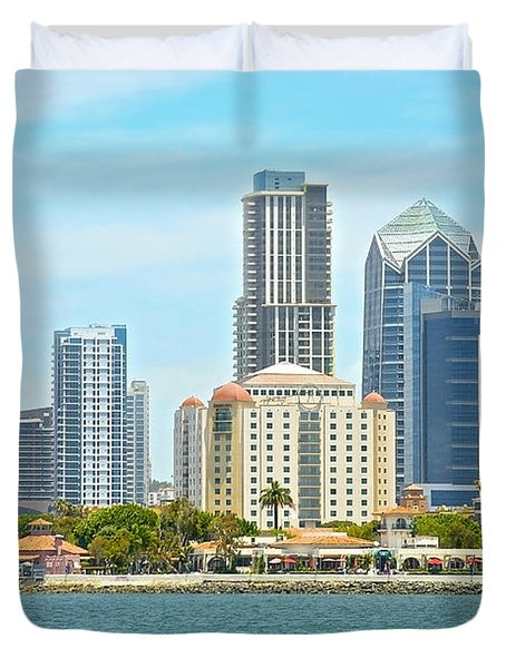 Seaport Village And Downtown San Diego Buildings Duvet Cover