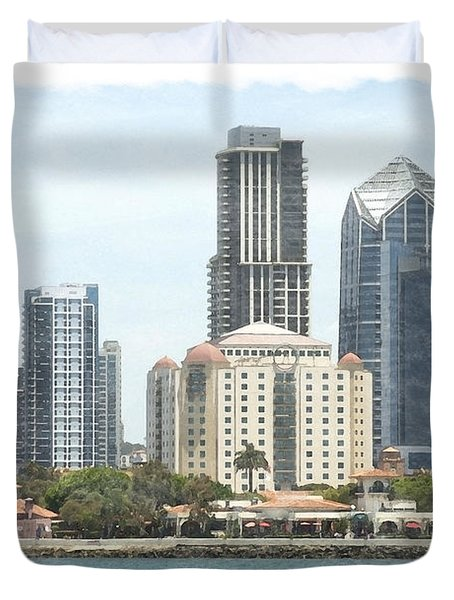 Seaport Village And Downtown San Diego Watercolor Duvet Cover