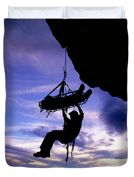 Search And Rescue Climber Hanging Duvet Cover