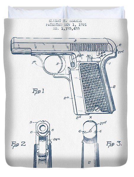 Searle Pistol Patent Drawing From 1921 -  Blue Ink Duvet Cover