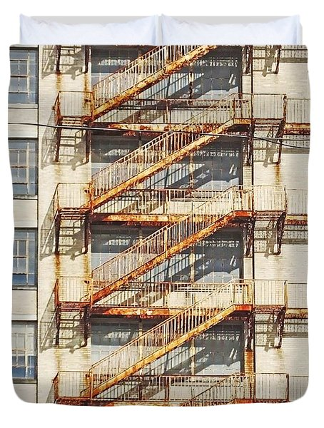 Sears Crosstown Fire Escape Memphis Tn Duvet Cover by Lizi Beard-Ward