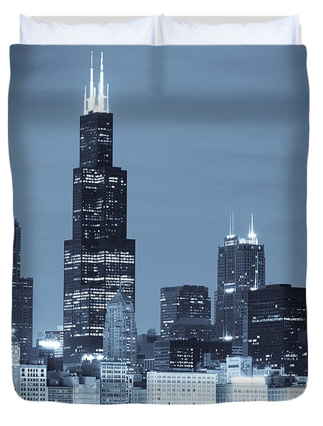 Duvet Cover featuring the photograph Sears Tower In Blue by Sebastian Musial