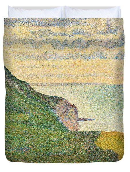 Seascape At Port En Bessin Normandy Duvet Cover by Georges Seurat