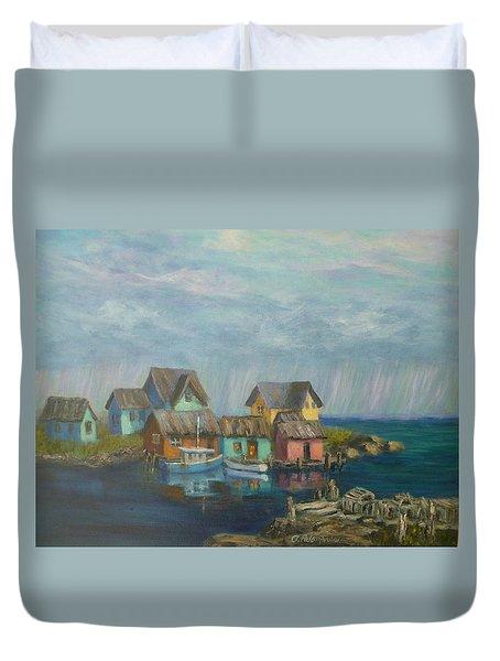 Seascape Boat Paintings Duvet Cover