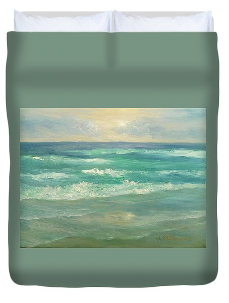 Seascape  Glowing Sunset Duvet Cover