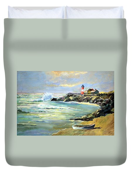 Seascape Lighthouse By Mary Krupa Duvet Cover