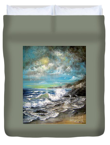 Duvet Cover featuring the painting Monday's Rain by Patrice Torrillo