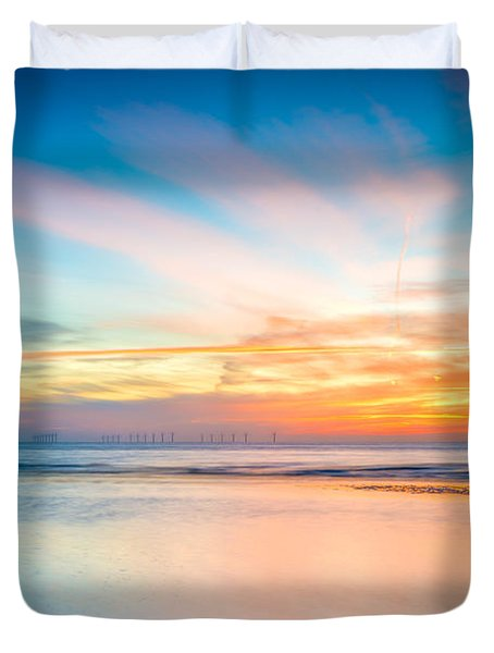 Seascape Sunset Duvet Cover by Adrian Evans