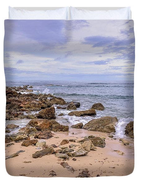 Seascape With Rocks Duvet Cover