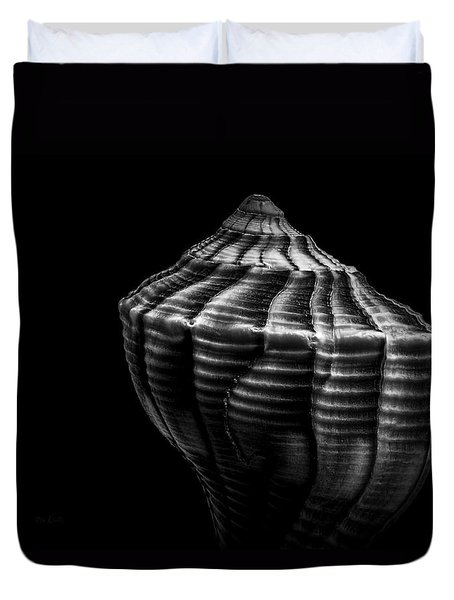 Seashell On Black Duvet Cover by Bob Orsillo
