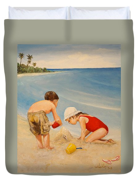 Duvet Cover featuring the painting Seashell Sand And A Solo Cup by Alan Lakin