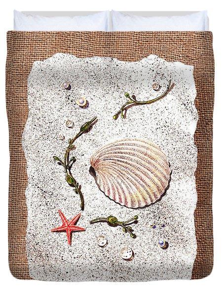 Seashell With Pearls Sea Star And Seaweed  Duvet Cover by Irina Sztukowski