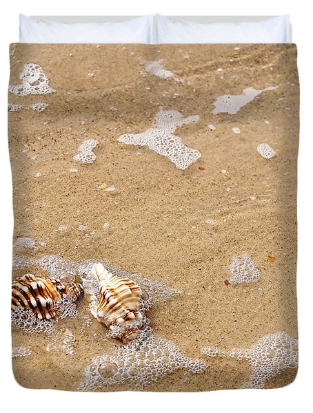 Seashells And Bubbles Duvet Cover by Kaye Menner