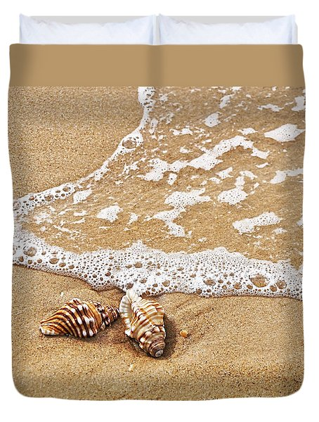 Seashells And Lace Duvet Cover by Kaye Menner