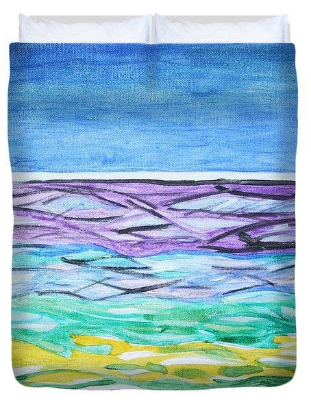 Duvet Cover featuring the painting Seashore Blue Sky by Stormm Bradshaw
