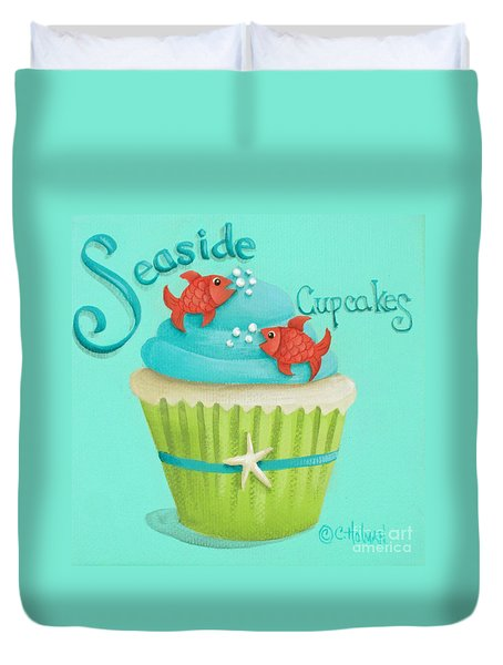 Seaside Cupcakes Duvet Cover by Catherine Holman