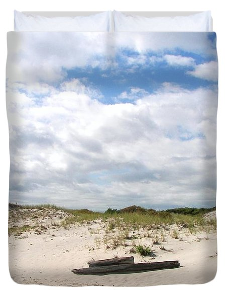 Duvet Cover featuring the photograph Seaside Driftwood And Dunes by Pamela Hyde Wilson