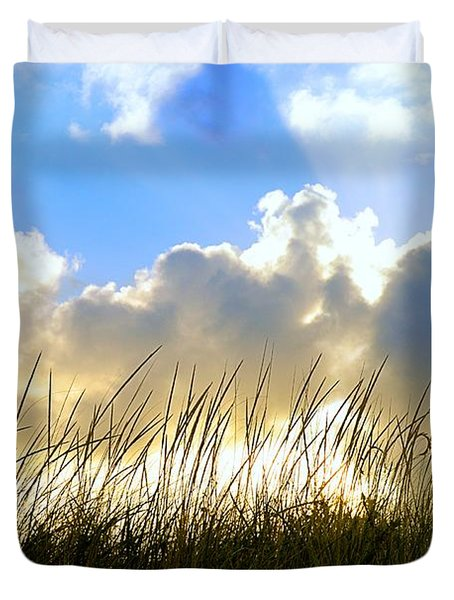 Seaside Grass And Clouds Duvet Cover