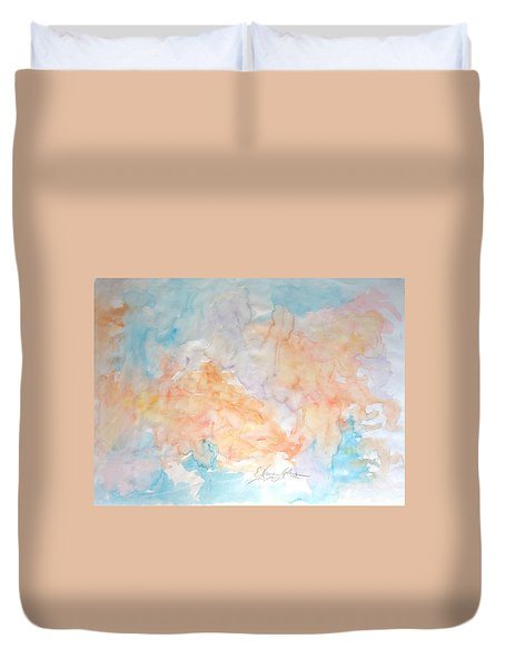 Duvet Cover featuring the painting Seaside In Summer by Esther Newman-Cohen