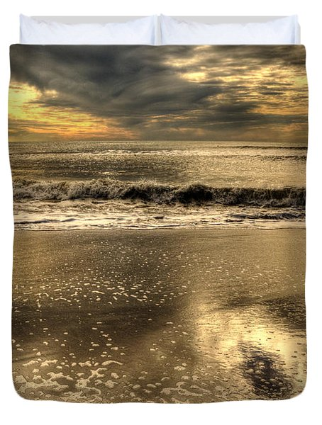 Duvet Cover featuring the photograph Seaside Sunset by Julis Simo