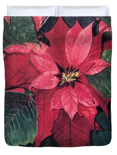 Duvet Cover featuring the painting Seasonal Scarlet 2 by Barbara Jewell
