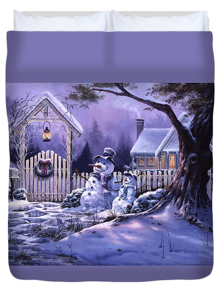 Duvet Cover featuring the painting Season's Greeters by Michael Humphries