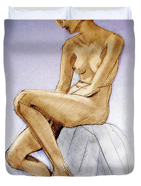 Tinted Figure Drawing Of A Seated Female Nude Dreaming Duvet Cover