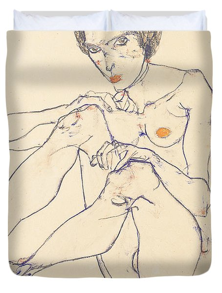Seated Female Nude Duvet Cover by Egon Schiele