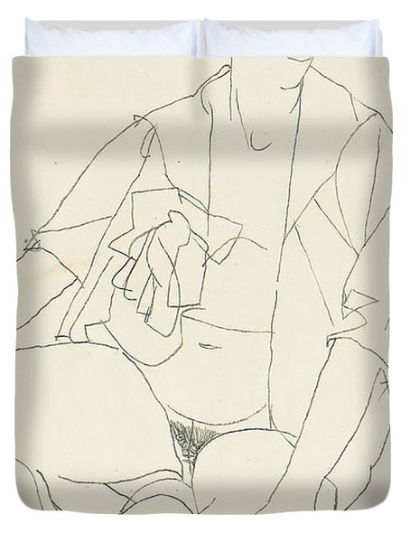 Seated Female Nude With Open Blouse Duvet Cover