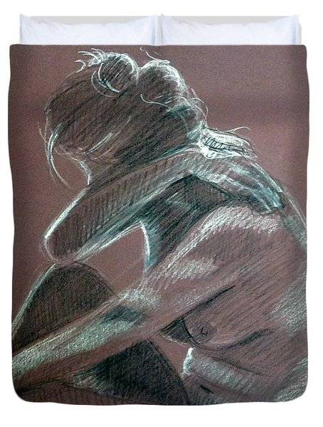 Seated Woman Side Light Duvet Cover