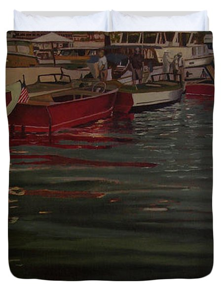 Seattle Boat Show Duvet Cover by Thu Nguyen