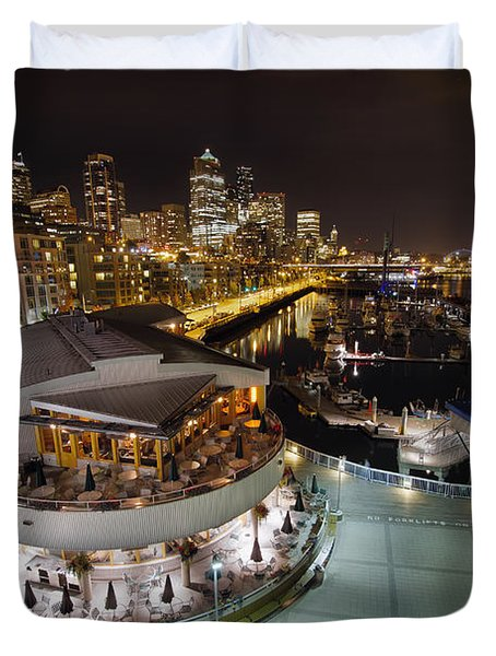 Duvet Cover featuring the photograph Seattle City Skyline And Marina At Night by JPLDesigns