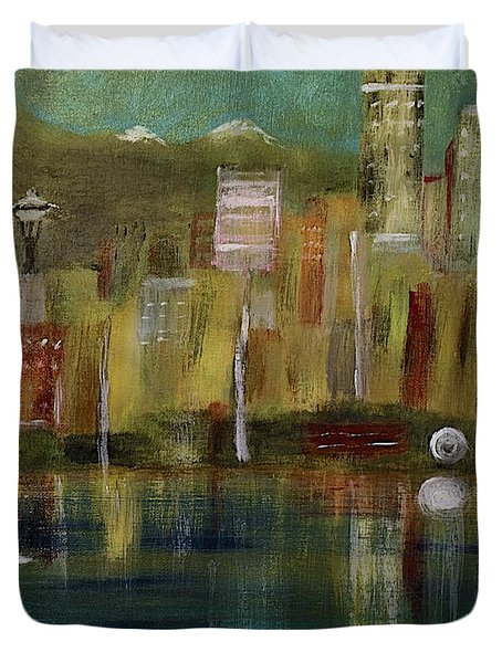 Seattle Cityscape Duvet Cover by Dick Bourgault