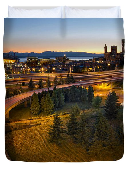 Duvet Cover featuring the photograph Seattle Downtown Highway Traffic Light Trails by JPLDesigns