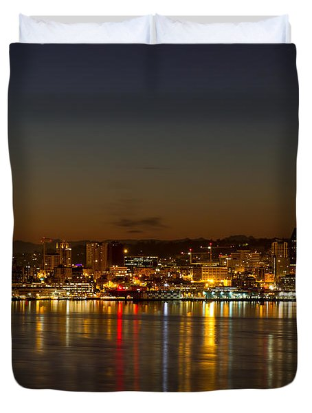 Duvet Cover featuring the photograph Seattle Downtown Skyline Reflection At Dawn by JPLDesigns